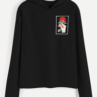Black Hand And Rose Embroidery Hooded Sweatshirt