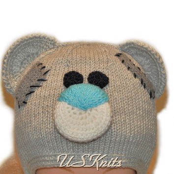 Hand knitted Tatty teddy bear hat