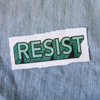 """Green """"Resist"""" Protest Patch - Sew on, Canvas"""