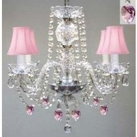 "My Associates Store - CHANDELIER LIGHTING W/ CRYSTAL PINK SHADES & HEARTS! H 17"" W 17"""