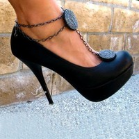 Shoespie Chic Black Anklet Embellished Platform Heels- Shoespie.com
