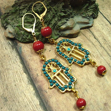 Dark Teal and Gold Hamsa, Swarovski Red Coral Pearl Dangle Earrings