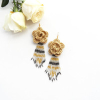 Crochet Earrings - Beaded Earrings - Large Earrings - Dangle Earrings - Flower Earrings - Golden Earrings