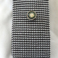 Vintage BRAND NEW BAUMWOLLE Necktie / 1970s / Black with Gray and White / Brand New / Never Worn / One Hundred Percent Lisle Cotton Knit