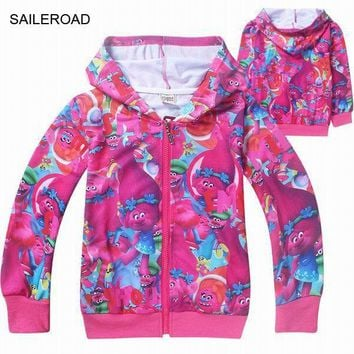 2017Years Spring Autumn Kids Girls Tops Tees Long Sleeve T Shirts Cotton TROLLS Coat Children Girls Sweatshirt Clothes SAILEROAD