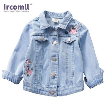Trendy 2018 Spring&Autumn Children Denim Jacket For Girls Cardigan Embroidered Floral Long-Sleeved Kids Outerwear & Coat Age 2-10 T AT_94_13