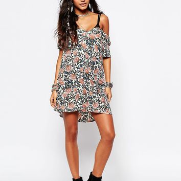 Glamorous Button Front Tea Dress In Floral Festival Print