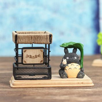 Cute Cartoon My Neighbor Totoro Wooden Resin Iron art Pencil Vase Pen Container Desktop Storage Case Office Desk Organizer