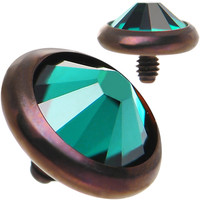 14 Gauge 5mm Emerald Green Gem Bronze Anodized Titanium Dermal Top | Body Candy Body Jewelry