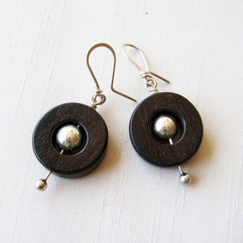 Round Ebony and Sterling Silver Earrings - Circle Black Earrings - Earrings with moving spining ball - Black & Silver - Contemporary Jewelry