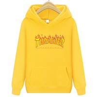 Thrasher New fashion flame letter print hooded long sleeve sweater Yellow