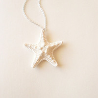 Ondine - Natural White Knobby Starfish Necklace - Cute Adorable Beach Boho Elegant Romantic - Whimsical Whimsy - Dreamy - Mermaid Collection