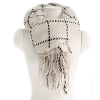 Checks Scarf Tassel Tippet Neckerchief   beige