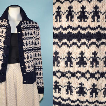 Vintage 60s Cream Navy Nordic Scandinavian Sweater/Fair Isle English Wool Sweater/Boho Ethnic Folk Cardigan Jumper/Stirling Cooper SZ  S