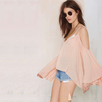 Pink Chiffon Strappy Wide Sleeve Blouse