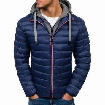 ZOGAA S-3XL Plus Size Men's Fashion Winter Warmth Hooded Hacket Puffer Cotton Coat Color Block Men's Clothes 2018 Brand New