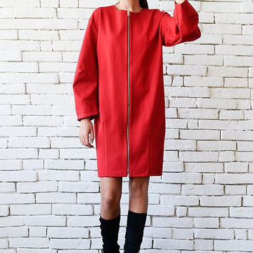 Red Zipper Coat/Plus Size Red Dress/Loose Short Jacket/Oversize Tunic Top/Long Sleeve Dress/Red Zipper Jacket/Red Short Dress/Red Long Coat