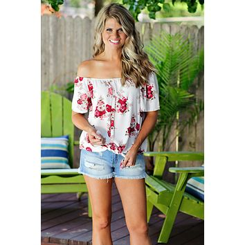 * Carlyn Floral Off The Shoulder Top : Ivory