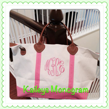 Monogrammed Week Ender Duffle Bag Personalized Weekender Pink Monogrammed Canvas Carry On Bag Pink Luggage Weekend Travel Bridesmaid Preppy