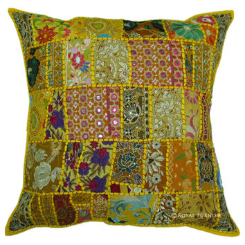 24 Inch Indian Patchwork Embroidered Floor Pillow