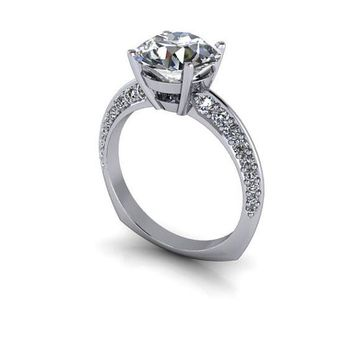 Celestial Premier Moissanite and Diamond Engagement Ring - Euro Shank - Customize Your Ring