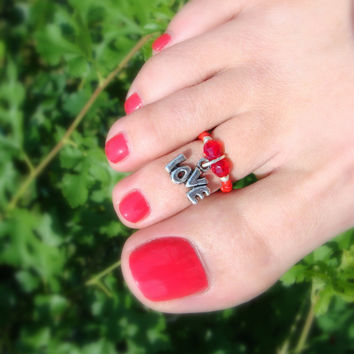 Toe Ring - Love Charm - Red Bicones - Stretch Bead Toe Ring