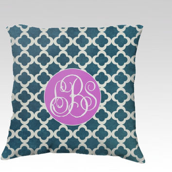Teal Clover MONOGRAM - Throw Pillow COVER - green, classic, gifts, cottage, chic, clover, pattern, decor, sofa, personalized, mongrammed,