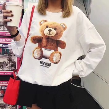 """Moschino"" Women Casual Cute Bear Pattern Print Sequin Decoration Long Sleeve Pullover Sweater Loose Tops"