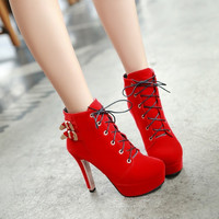 Metal Buckle Lace Up Platform High Heels Ankle Boots 5650