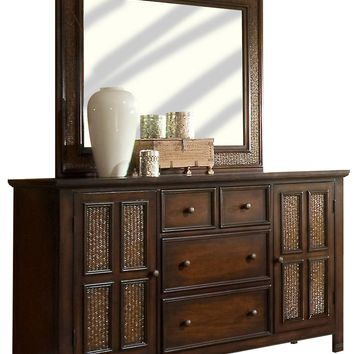 Kingston Isle Transitional Door Dresser And Mirror Havana Brown