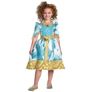 Girls Sparkle Classic Merida New Brave Princess Costume Exquisite Halloween Fancy Dress
