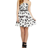 Guess Strapless Dotted Dress - Black/White