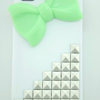 Shapotkina Punk Style white Mobile Phone Case for iPhone 5C silver pyramid stud with cute Bow Tie (Green Bow Tie)