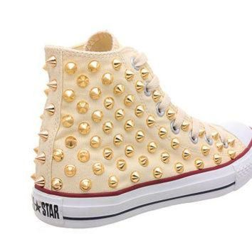 CREYONB Studded Converse, Converse Cream High Top with Gold Cone Studs by CUSTOMDUO on ETSY