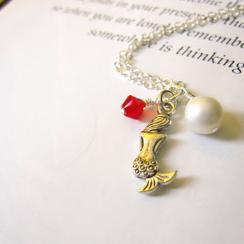 Mermaid Necklace with red swarovski & pearl - Bridesmaids jewelry in Beach Wedding - Nautical gift