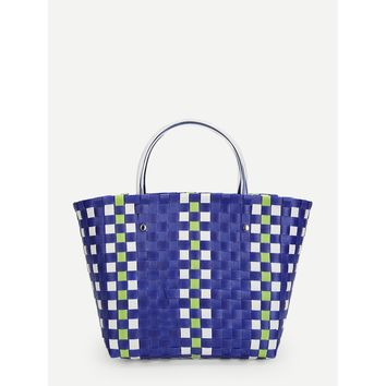 Blue and White Woven Design Tote Bag - Purse - Large Bag - Beach Bag
