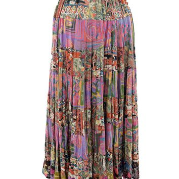 Boho Hippie Tiered Print Gypsy Skirt