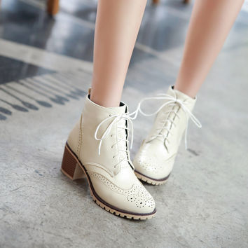 Women Lace Up Oxfords Ankle Boots Chunky Heel Pumps 7691