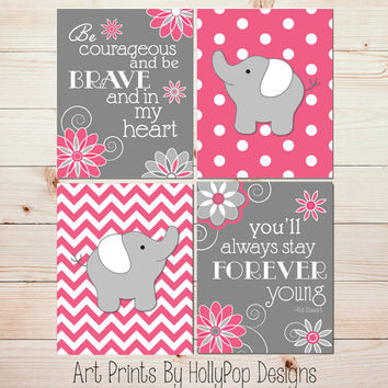 Pink Gray Nursery Art Nursery Wall Art Baby Elephant Nursery Art Prints Inspirational Nursery Art Toddler Girls Room Modern Baby Girl #1272