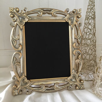 Decorative Framed Chalkboard - Magnetic Chalk Board - Brushed Gold - Decorative Ornate Baroque Frame Message Board Display