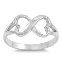Engraved Infinity heart Sterling Silver Ring   Any messages engraved inside of ring, simple everyday, wedding , bridesmaid, friends forever