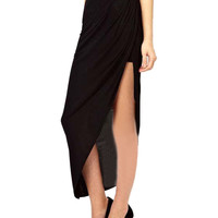 Black Drape Side Split Maxi Skirt