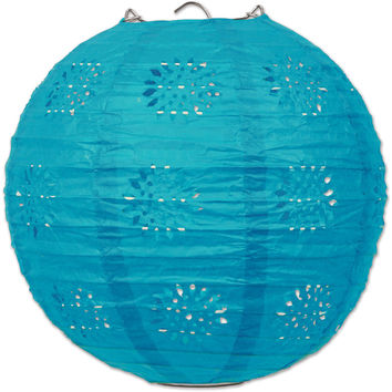 lace paper lanterns - turquoise Case of 6