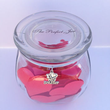 I LOVE My Soldier Jar, Valentine's Day Gift, Reasons I love you Jar, Gift for Military spouse
