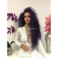 Violet Purple Swiss Lace Front Wig 26 Inches | Multi Parting | Tight Curls Layered Hair | Vanity 1018