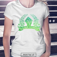 Vegan power - women's t-shirt - inspirational vegan quote - vegetarian shirt - healthy lifestyle - green