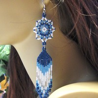 eBlueJay: Dreamcatcher Inspired Native American Style Beaded Chandelier Earrings In Blues and White