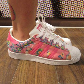 DCCKGV7 Adidas Superstar II Originals Pink Floral Womens / Girls Casual Shoes - S75128
