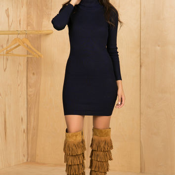 Knit Turtleneck Dress (Navy)
