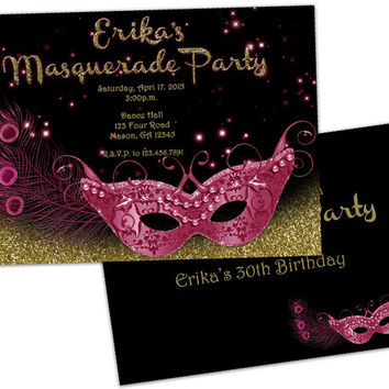 Pink and Gold Masquerade Invitation - Masquerade Party Invite - Pink Mask Peacock Feather Mardi Gras Mask Invite -  Glitter Glitz Any Age